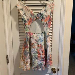 Zara Cutout Back Watercolor Mini Dress